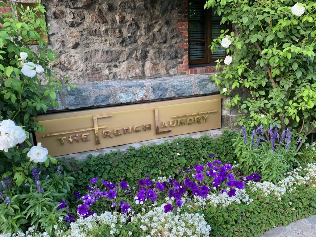 The French Laundry Restaurant Sign Outside in Yountville, CA